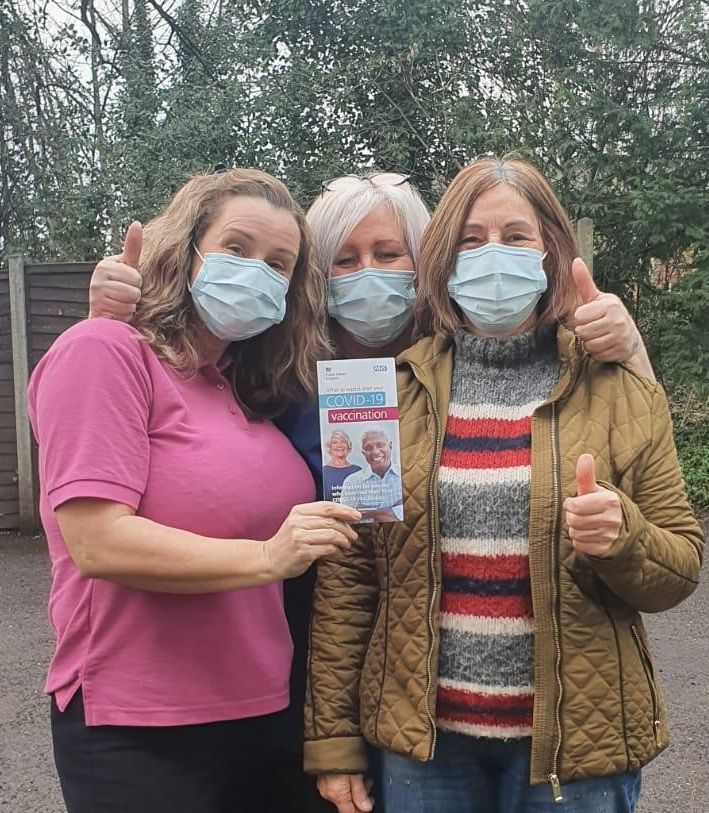 Residents and staff at two Whitchurch care homes delighted to receive the Covid-19 vaccination.