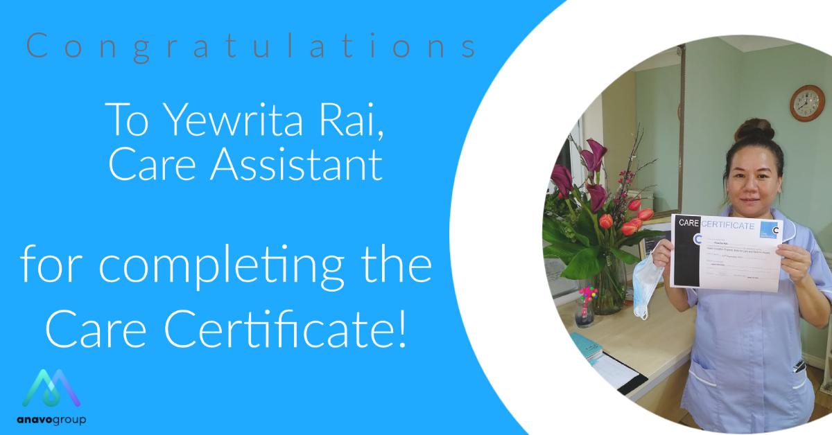 Congratulations to a care assistants at Marlborough House Nursing Home.